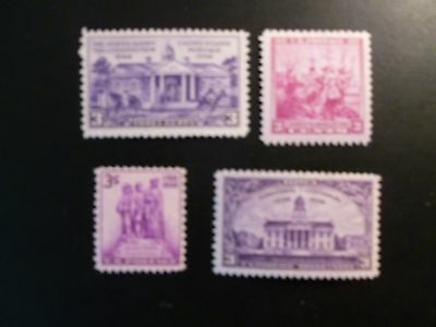 United States Scott #835 - 838, the set of 4 from1938  MNH