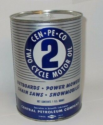 Vintage Cen-Pe-Co Two Cycle Motor Oil 1 qt all Metal Can, Full