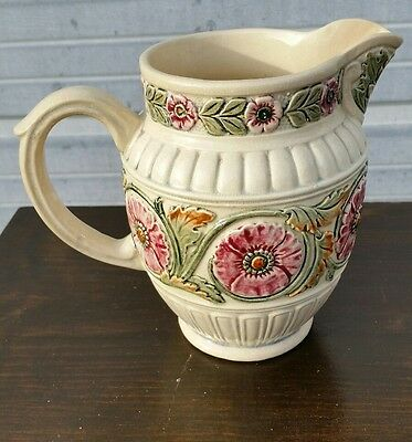 "Weller Pottery Roma Pitcher Flowers & Leaves 7.25"" No Damage"