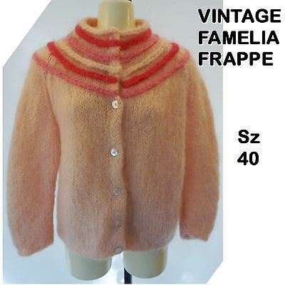 VINTAGE 50s FAMELIA FRAPPE SWEATER Cardigan ITALY Mohair Blend Soft Pink Sz 40