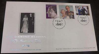 2007 Queen Diamond Wedding Anniversary GB First Day Cover Unusal 3 stamps FDC41