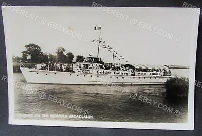 "c1950s  Norfolk  Broads - Cruise Ship "" Golden Galleon "" Real Photo Postcard"