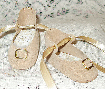 "Handmade Leather Doll Shoes ~ German Style ~ 2 5/8"" x 1 1/4""   Lt Brown Suede"