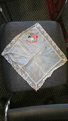 X-RARE WW1 US Army in  FRANCE Souvenier in FRANCE  Silk Handembroidered NAPKIN