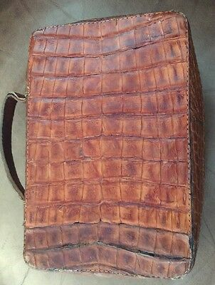 Handmade Crocodile Leather Book Bible Jacket Brown Zipper Fully Enclosed Vintage