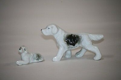 Porcelain Dog Figurines Brown White Spot Hunting Puppy Pointers
