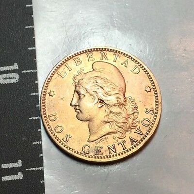 ARGENTINA 1894 2 centavos coin extra fine, cleaned?