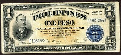 Philippines N.d (1944) 1 Peso  Victory  Note !!!!!! Xf