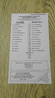 Fulham v Wakefield 1981 Challenge Cup Rugby League Programme (Single Sheet)