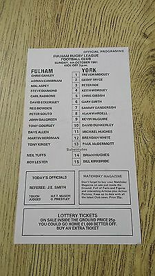 Fulham v York 1981 Rugby League Programme (Single Sheet)