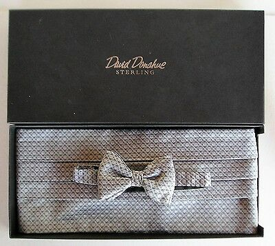 David  Donahue Men's Dot Print Cummerbund & Silk Bow Tie Set Silver Series
