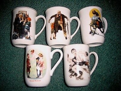 5ea Vintage Norman Rockwell Cups Porcelain White 4 from Saturday Evening Post