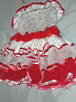 Girl's Curtain Call Costumes Pretty White & Red Dance Costume Size S