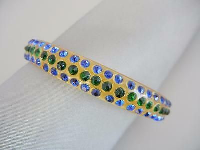 Vtg Art Deco Celluloid Bangle Bracelet 3 Row Rhinestones Blue Green