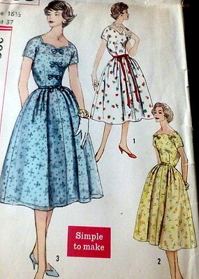 LOVELY VTG 1950s DRESS Sewing Pattern BUST 37