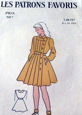 RARE VTG 1950s CHILDS DRESS FRENCH Sewing Pattern 8-10 YEARS