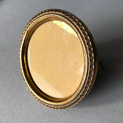 Antique Mini Pressed Gilt Brass Round Easel Frame Victorian Edwardian Vanity