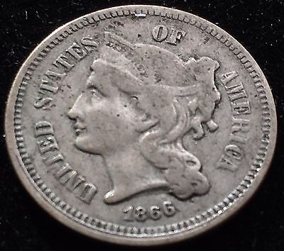 Beautiful Circulated 1866 Nickel Three Cent Piece. Type Collectors!