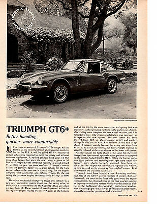 1969 Triumph Gt-6+ / Gt6+  ~  Original 3-Page Road Test / Article / Ad