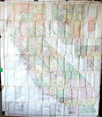 1912 Rand McNally Vest Pocket Map of California – Full Color Unfolds to 33 x 38""