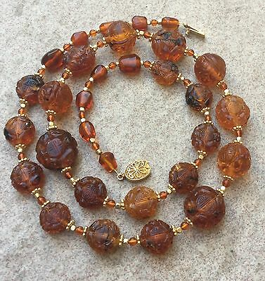 Antique Chinese Carved Natural Amber Shou Bead Necklace