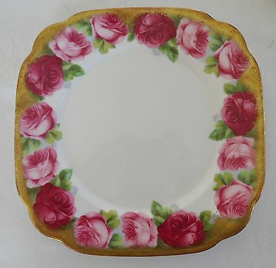ROYAL ALBERT OLD ENGLISH ROSE Square Salad Plate wide heavy gold