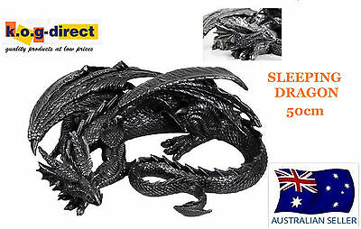 Black Gothic Sleeping Dragon Statue Figurine Large 50Cm Dragslee