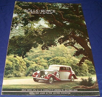 RF1419 1937 37 Rolls-Royce Vtg Color Ad Advertisement