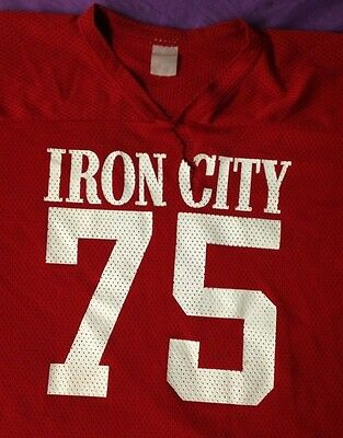 "vintage ""IRON CITY BEER"" MESH FOOTBALL JERSEY MEN'S XL extra large RED #75 S/S"