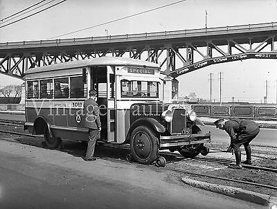 Orig Negative Bus Psnj Psct 1011 Public Service New Jersey 1934 On Trolley Track