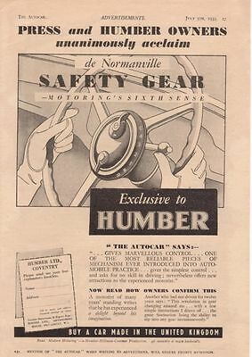 RF2174 1935 35 Press Humber de Normanville Safety Gear Vtg AutoCar Magazine Ad