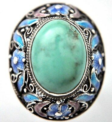 Vintage Chinese Natural Larimar and Silver Filigree Ring