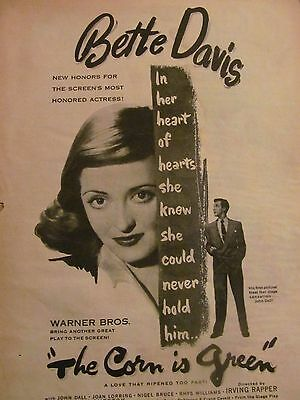The Corn is Green, Bette Davis, Full Page Vintage Promotional Ad