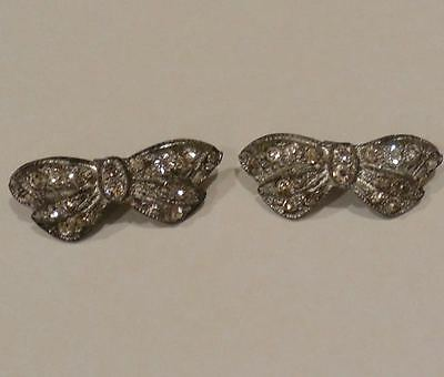 Vintage Clear & Sparkly Rhinestone Bow Shoe Clips - Charming!