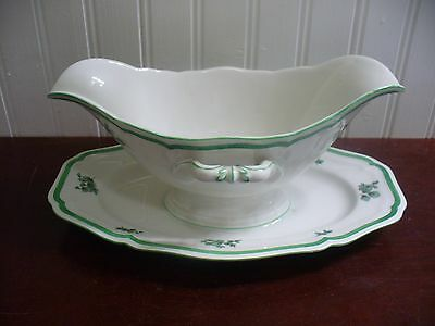 Rosenthal Germany Chippendale Green Floral Gravy Boat Attached Under Plate