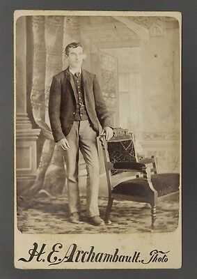 ANTIQUE CDV Carte De Visit H E Archambault Montreal Canada Man Leaning on Chair
