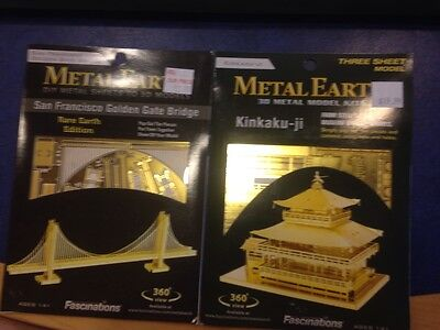 Lot Of 2 Golden Edition Fascinations Metal Earth 3D Laser Steel Cut Models