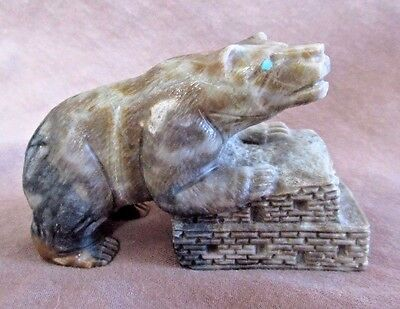 Native Zuni Museum Quality Picasso Marble Bear on Pueblo by Herbert Him Sr C1548