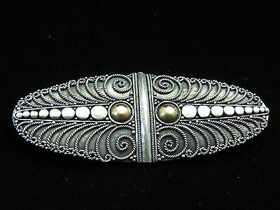 Vintage Sterling Silver Gold Button Accent Elliptical Scrollwork Brooch Pin