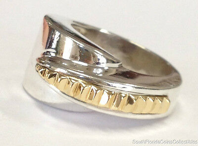 Estate Jewelry Ladies Ring 18K Yellow Gold Sterling Silver Band Size 8