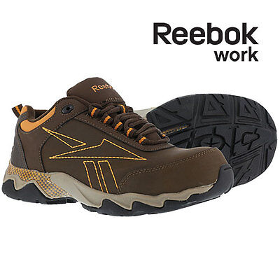 Reebok Work Composite Toe Brown/Orange Leather Athletic Shoes - Men's 7W