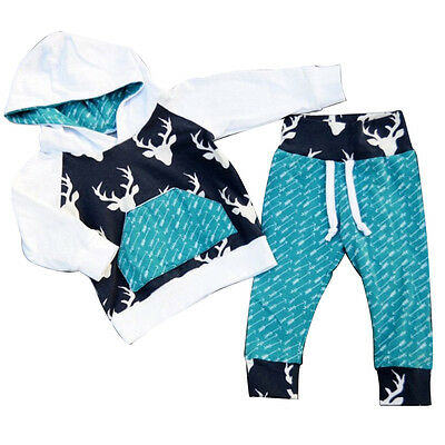 Kids Baby Boys Girls Deer Hooded Tops+Pants Toddler Outfits Set Clothes