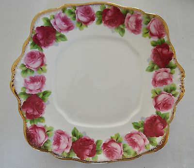 ROYAL ALBERT   OLD ENGLISH ROSE  Square Tabbed Cake Plate #1