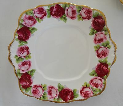 ROYAL ALBERT   OLD ENGLISH ROSE  Square Tabbed Cake Plate #2