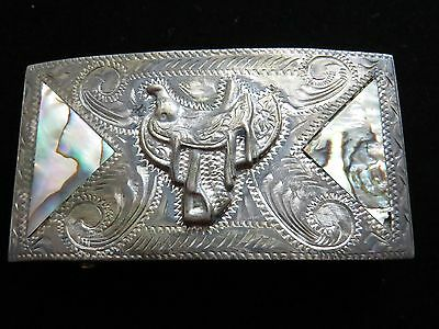 VINTAGE WESTERN STERLING SILVER ABALONE INLAY SADDLE BELT BUCKLE (Mexico)