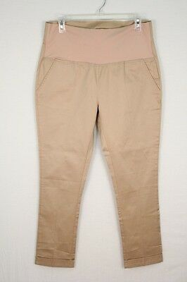 Rosie Pope Women's Camel Brown Secret Belly Panel Maternity Pants Large