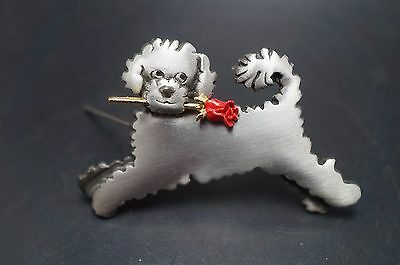 Pewter PORTUGUESE WATER Dog Pin Jewelry MARK SHIELDS Necklace Charm
