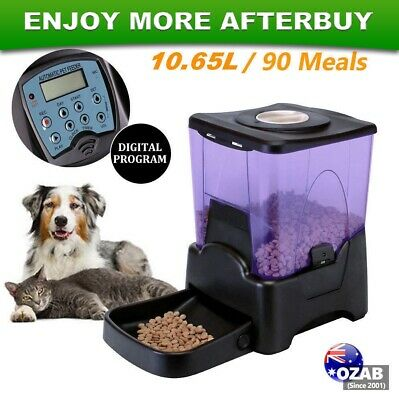10L Automatic Pet Feeder Dog Cat Programmable Food Bowl Auto Dispenser LCD