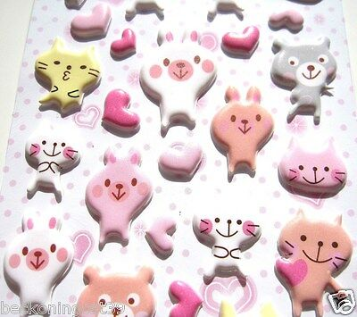 Love Animal Cat Kitty Kitten Bear Rabbit Heart 3D Vinyl Sticker Decor Kids JAPAN