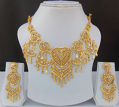 Uk American Fashion Jewelry Set Indian 22K Gold Plated Wedding Necklace Earrings